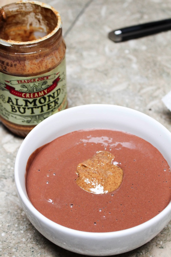 Chocolate protein acai bowl with almond butter