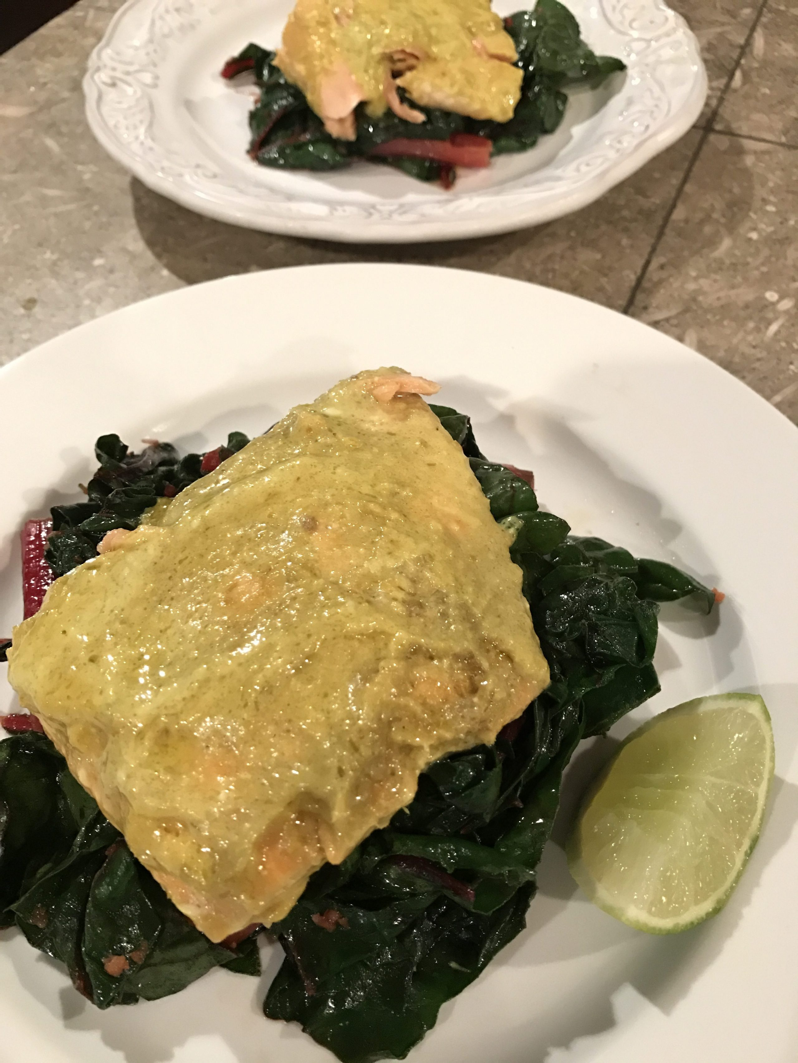 Sunbasket Southeast Asian coconut-poached salmon with red chard