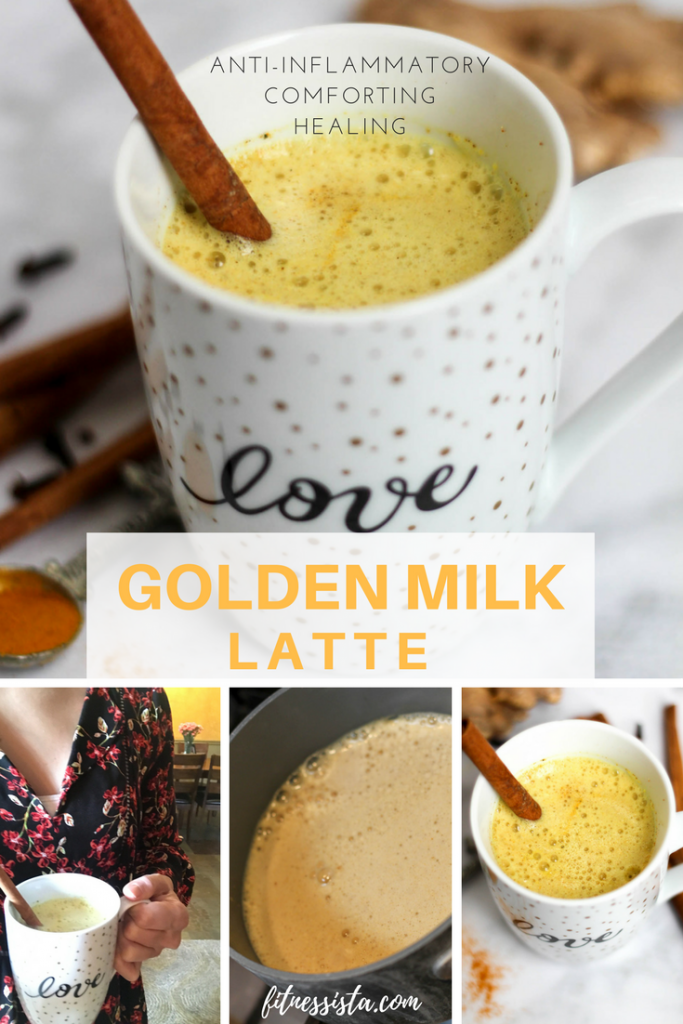 The golden milk latte! A delicious, healthy, and soothing concoction. It's lightly sweet and packed with nutrients and healing properties. fitnessista.com