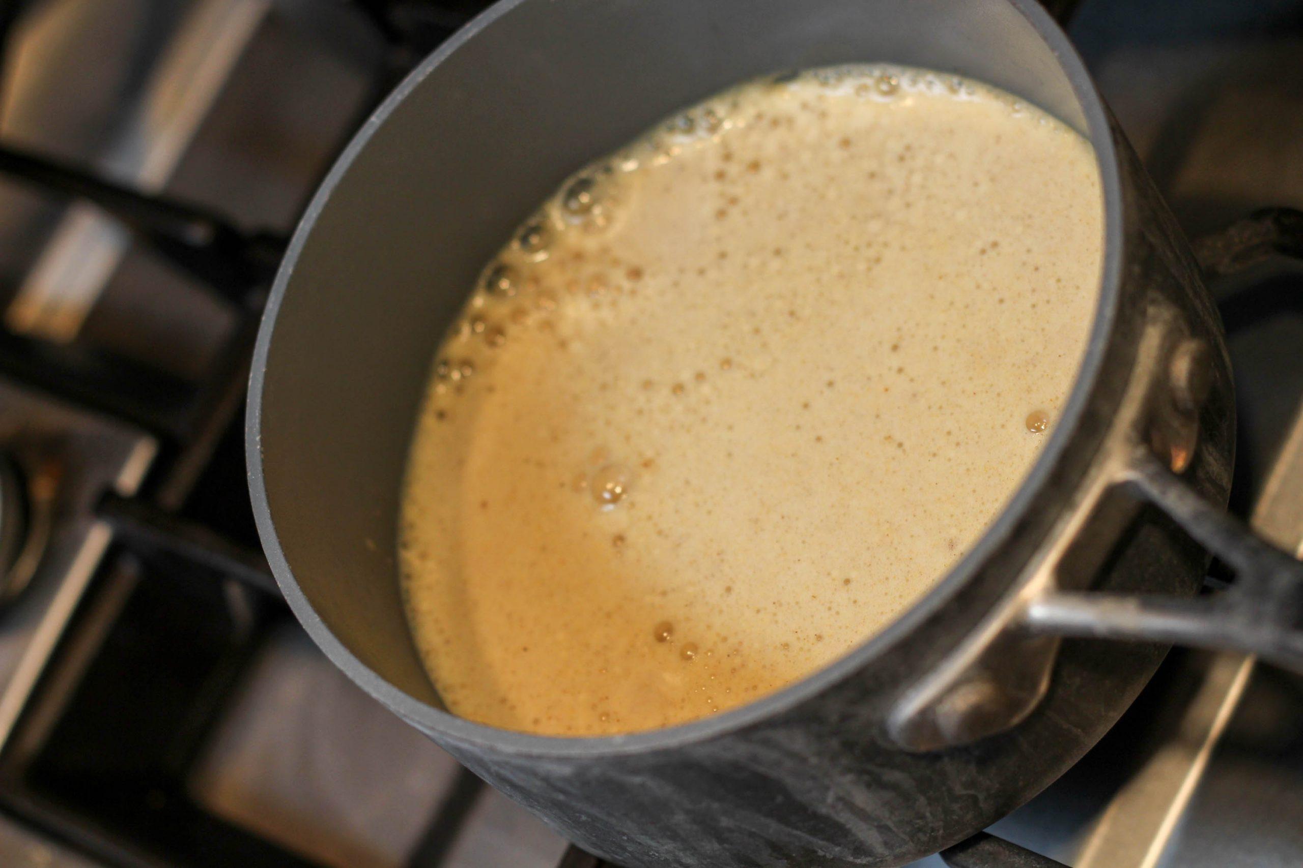 turmeric tea in the making