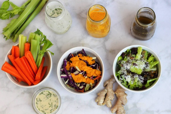 Healthy homemade salad dressings and salads
