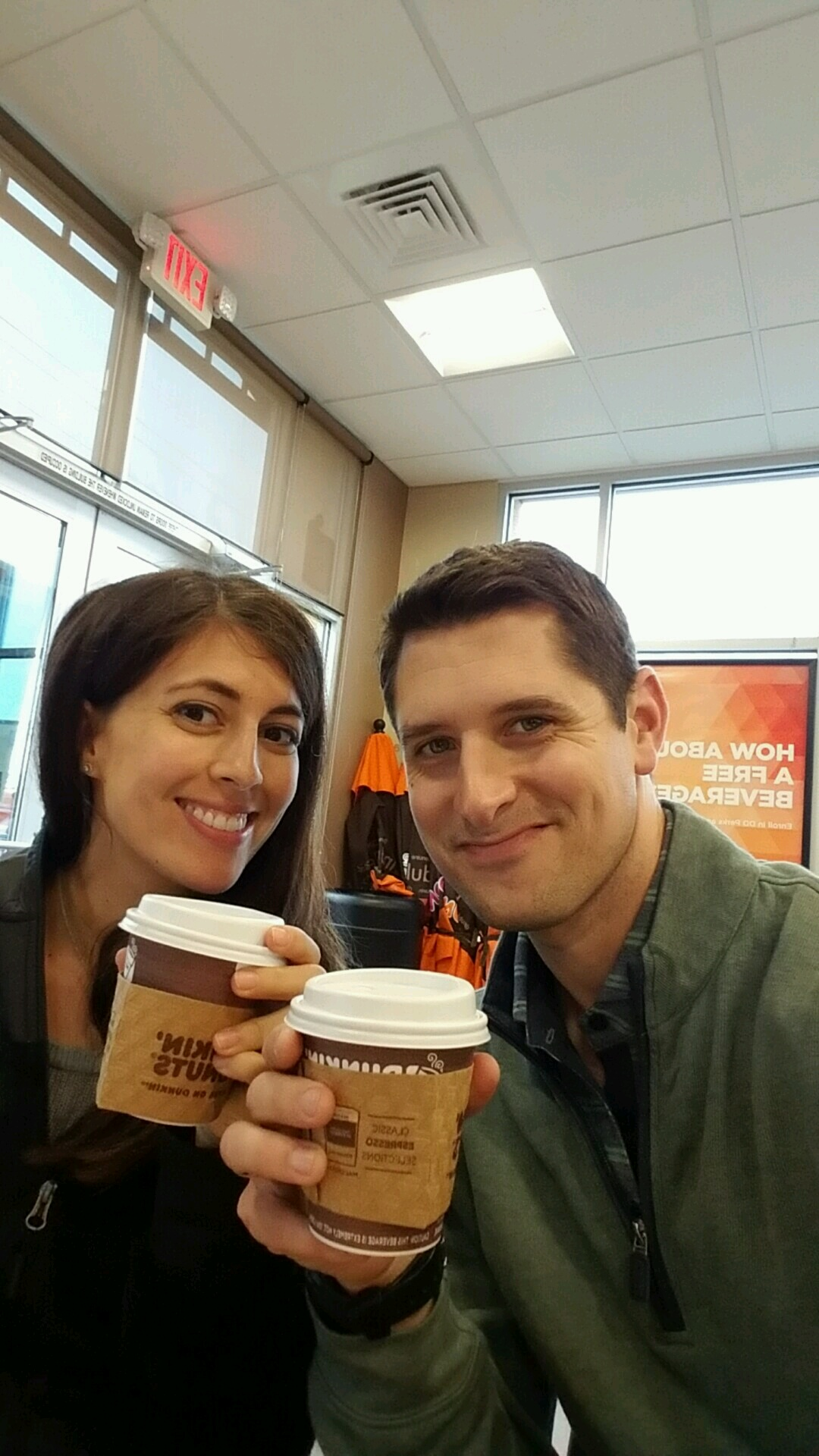 Dunkin' Donuts almond milk latte with Tom