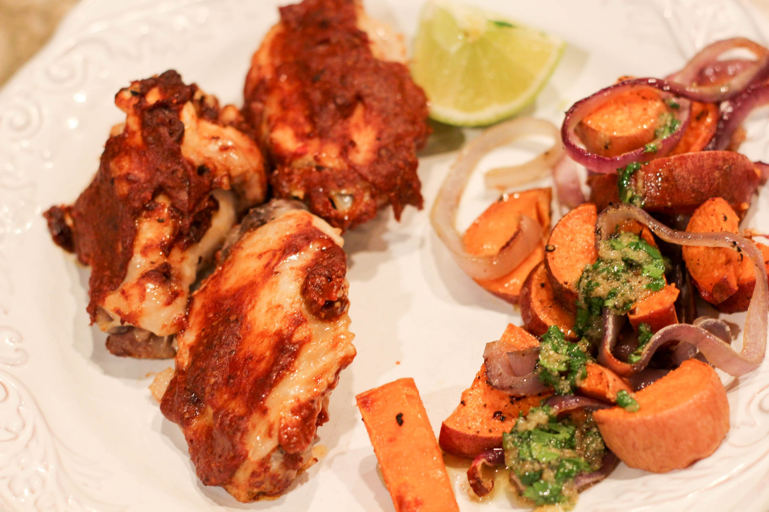 Sunbasket Chicken wings barbacoa with salsa verde