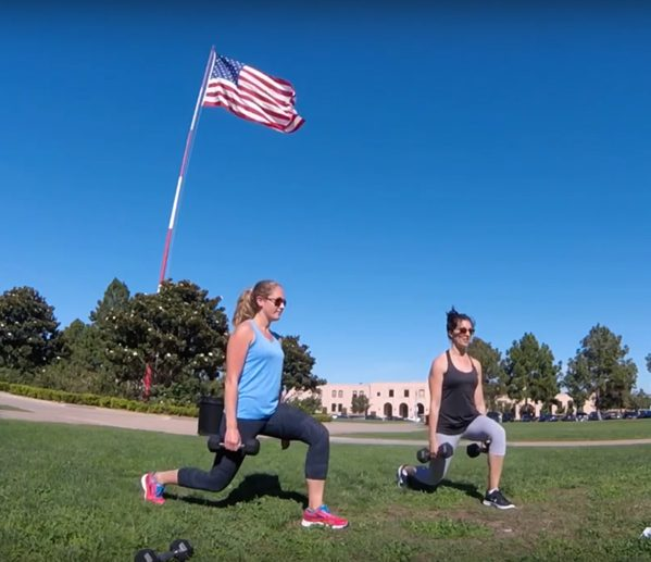 Anne and Me dumbbell lunges