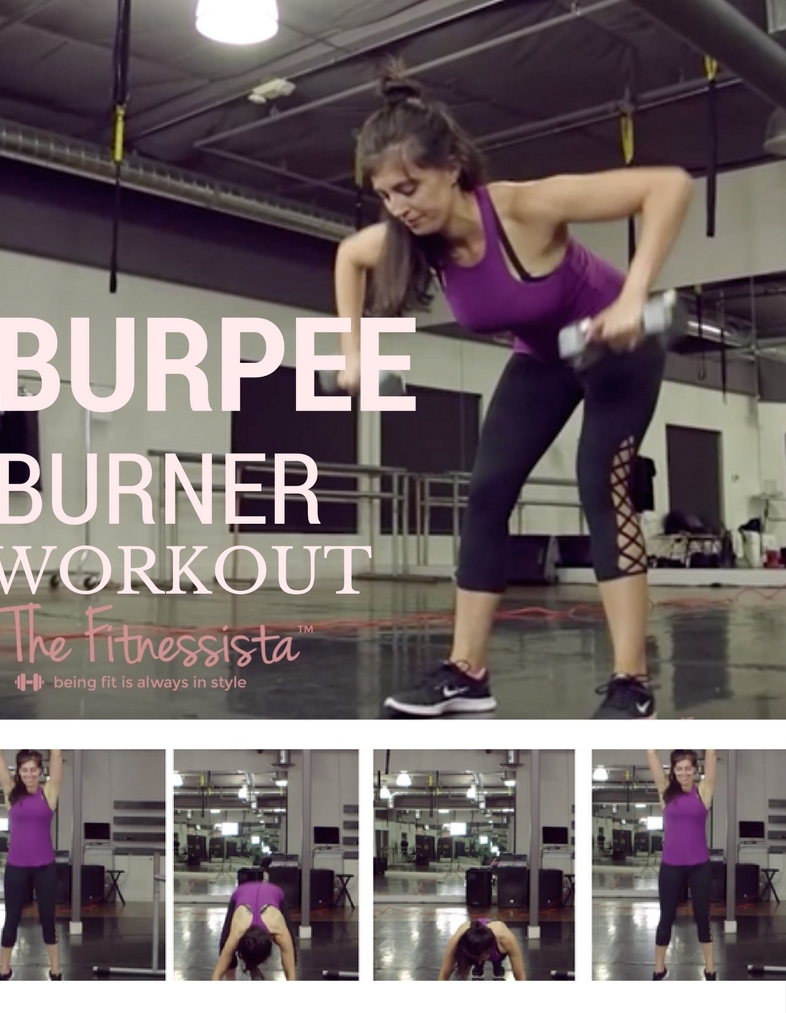 A total body burpee workout! Burpee blasts will fire up your heat rate and burn major calories. Save for the next time you want a killer strength and cardio workout! fitnessista.com