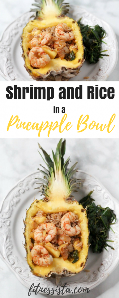 Shrimp and Rice in a Pineapple Bowl