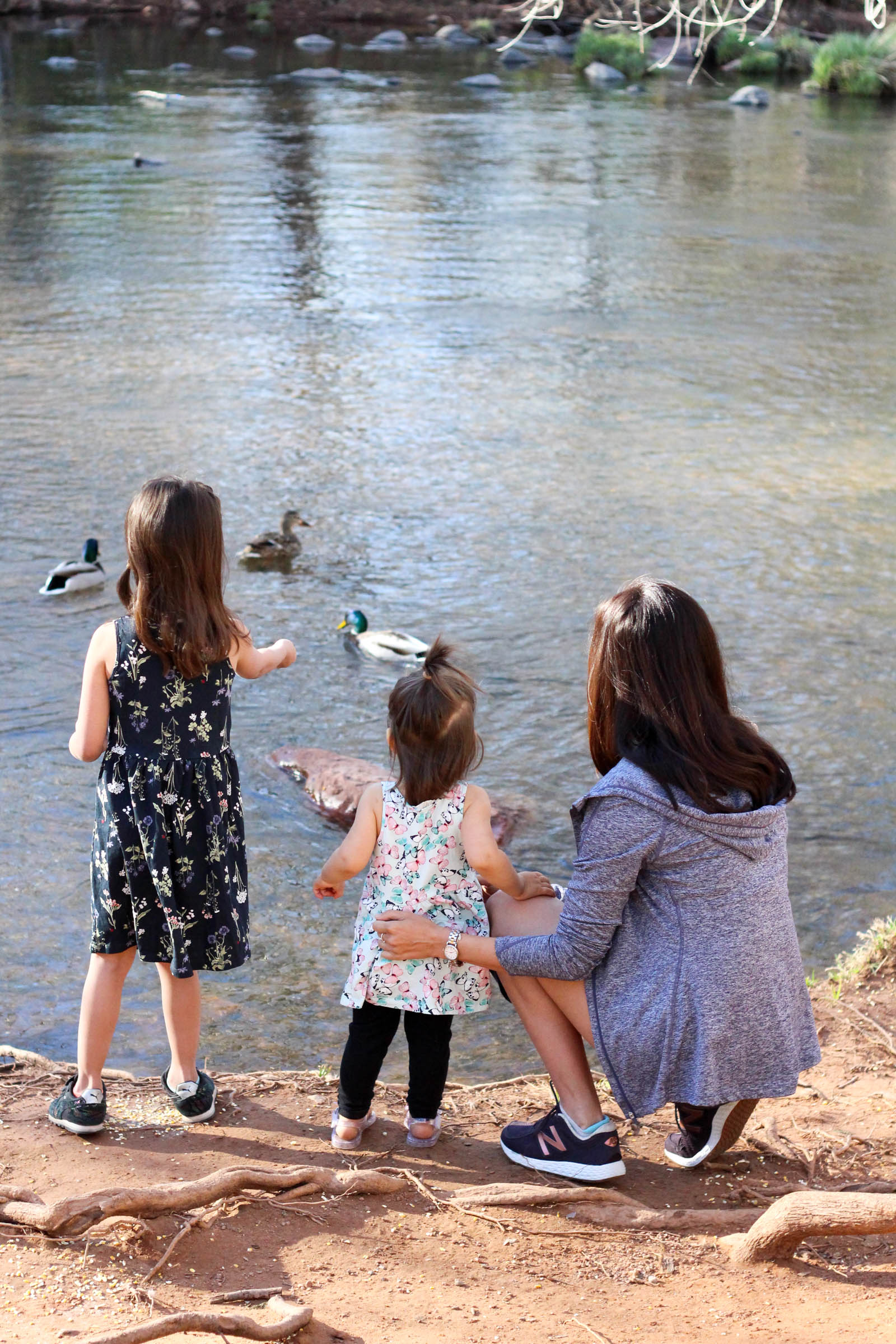 The girls and me feeding ducks at L'Auberge de Sedona