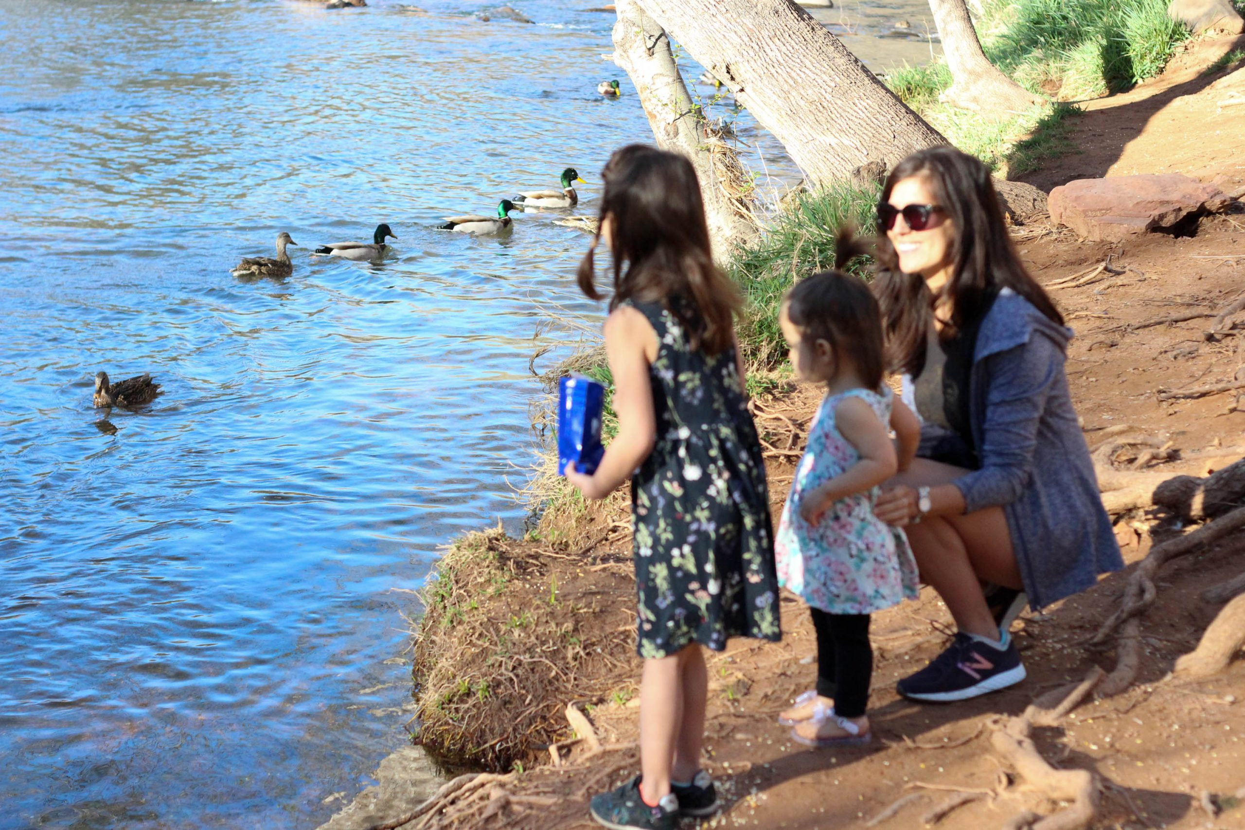 Feeding ducks with the girls at L'Auberge de Sedona