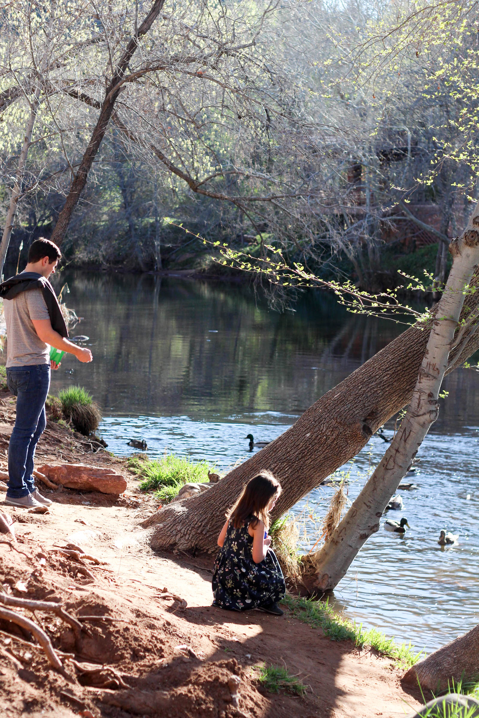 Tom and Liv feeding ducks at L'Auberge de Sedona