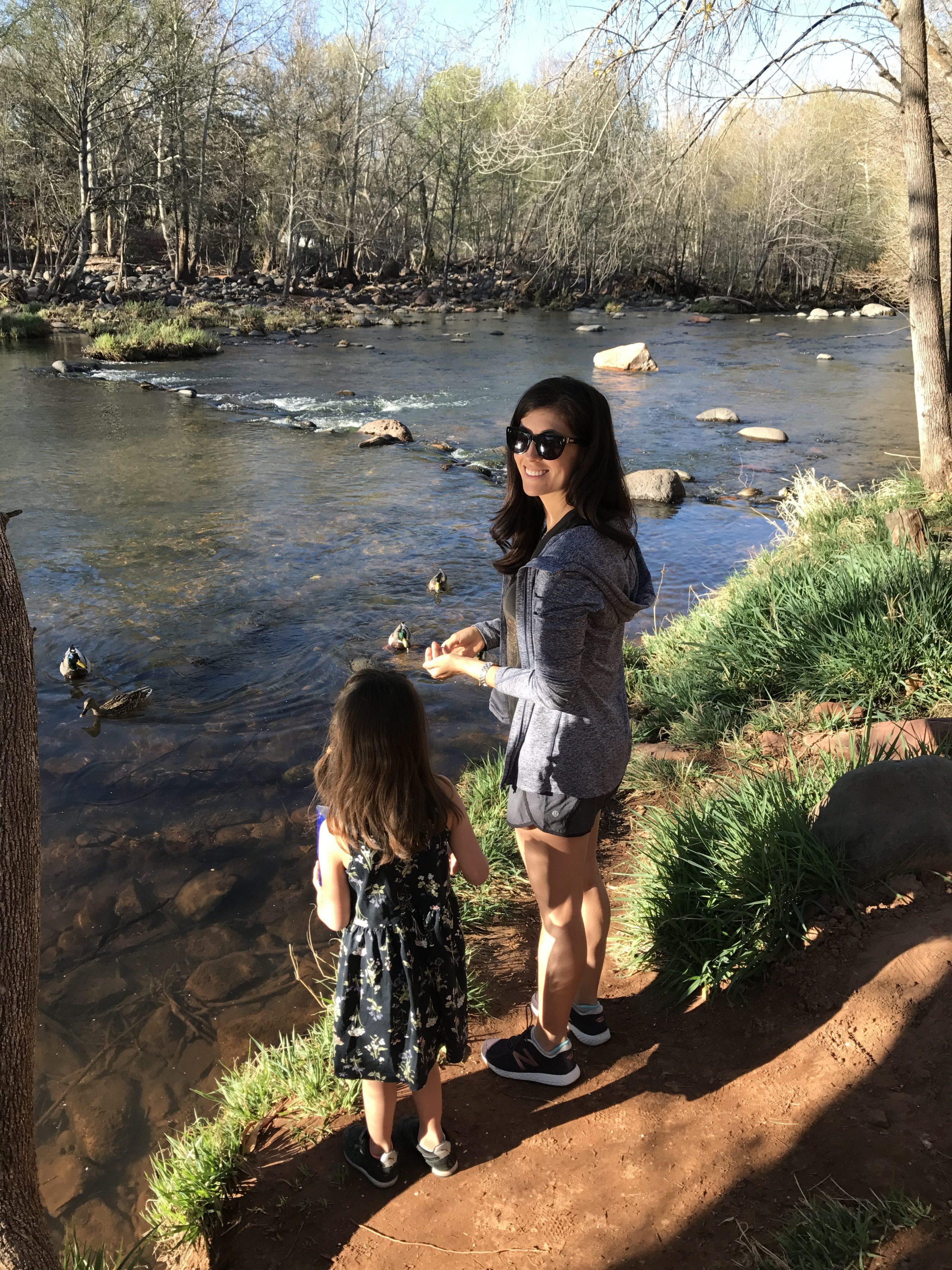 Liv and me feeding ducks