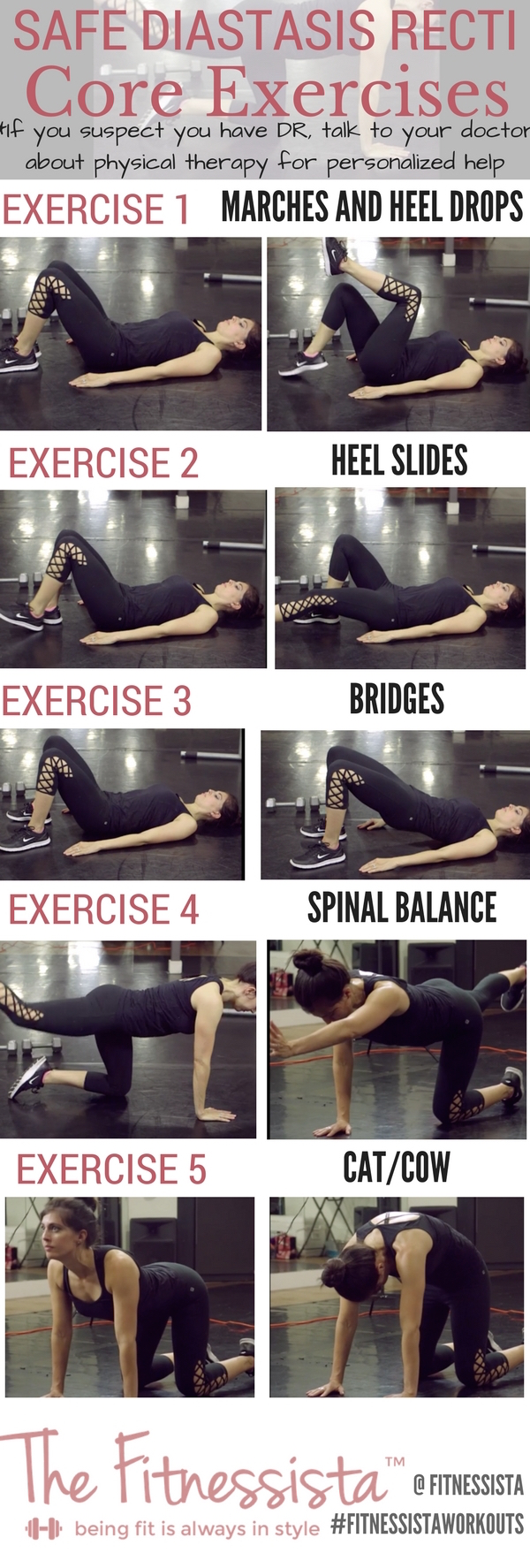 Tips for safe workouts if you have diastasis recti, or abnormal ab separation after pregnancy. Strengthen your core with these safe diastasis recti exercises. fitnessista.com #diastasisrecti #diastasisrectiexercises #diastasisrectiworkout