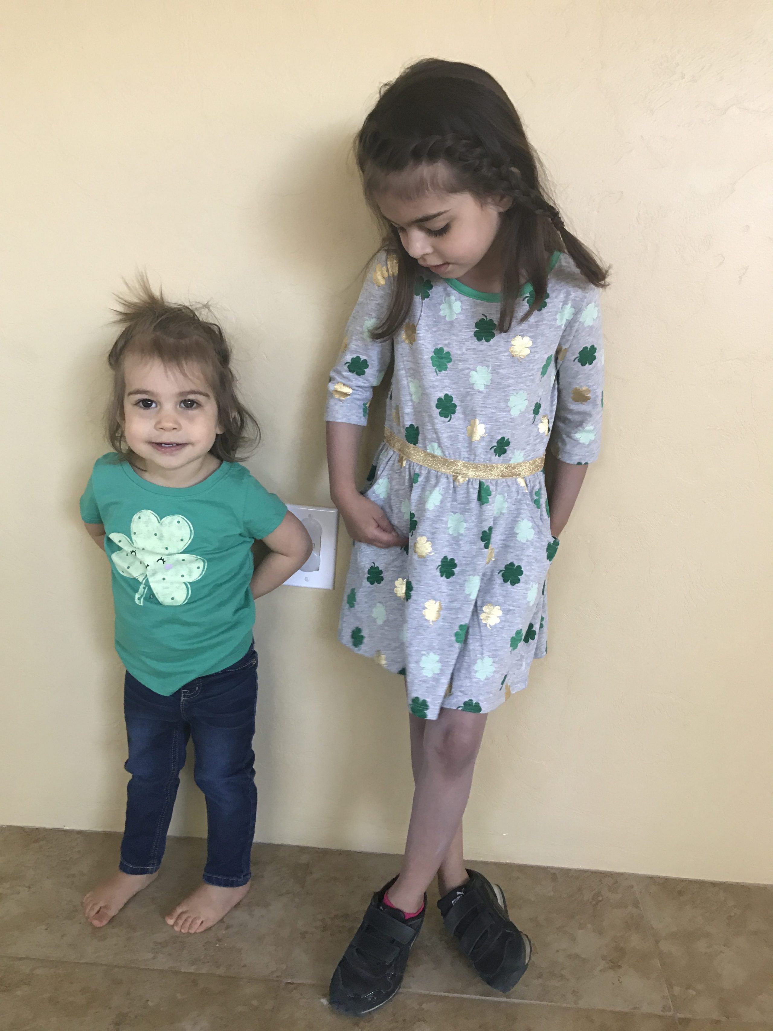 The girls dressed for St Paddy's Day
