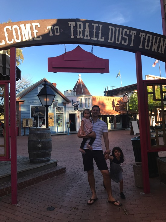 Tom and the girls at Trail Dust Town
