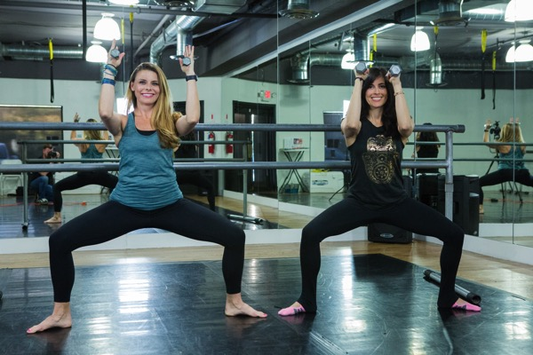 Katie and me filming barre bootcamp