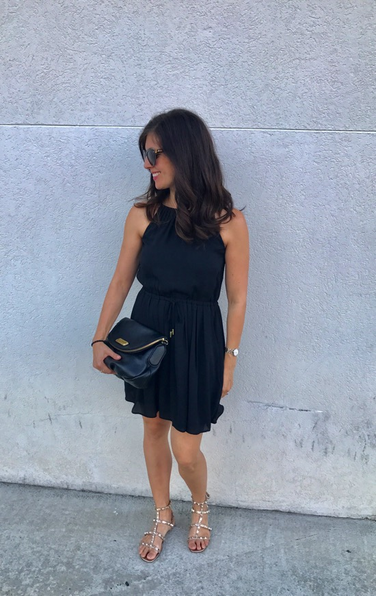 Black banana republic dress with valentino sandals