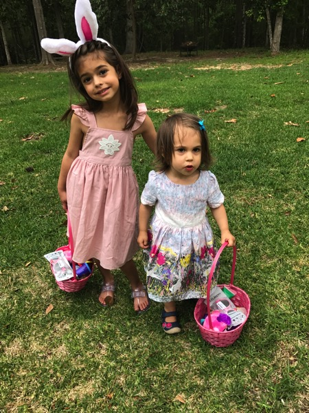 The girls hunting for eggs