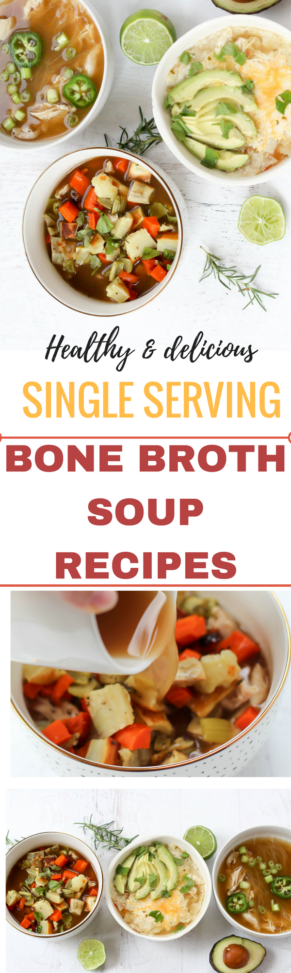 Single serving bone broth soup recipes. These are amazing for healthy packed lunches, or as part of weekly meal prep. fitnessista.com
