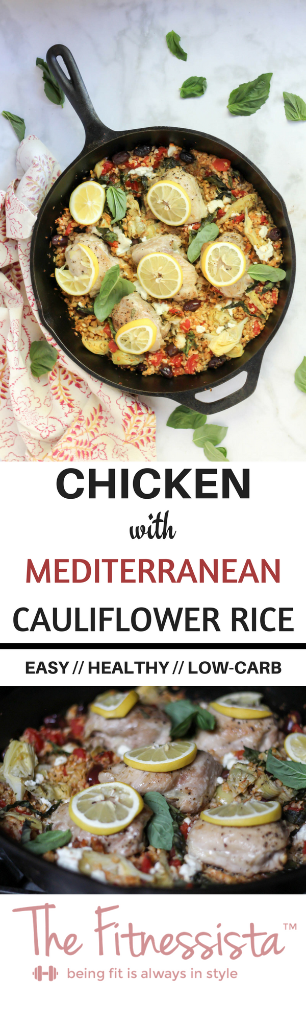 An easy, healthy dinner recipe! This only uses one pot and makes cauliflower rice taste delicious. Check out the recipe for this chicken with Mediterranean cauliflower rice here. fitnessista.com