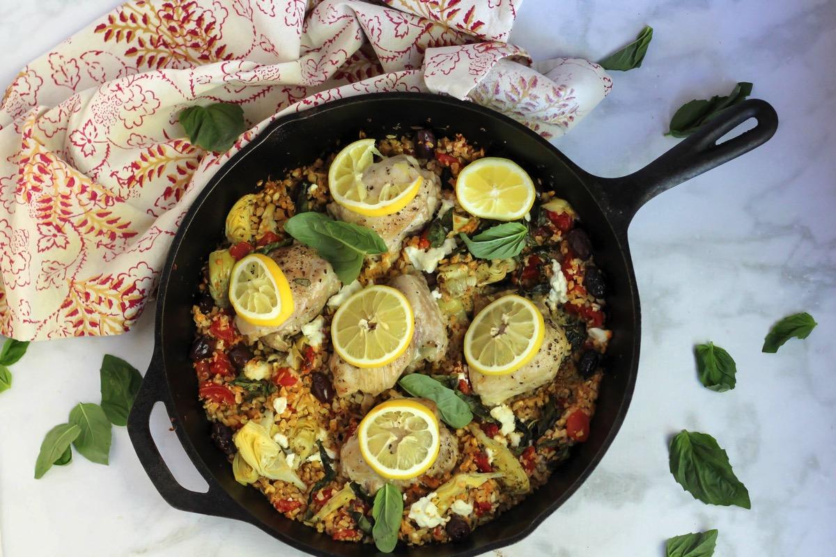 Mediterranean chicken with cauliflower rice