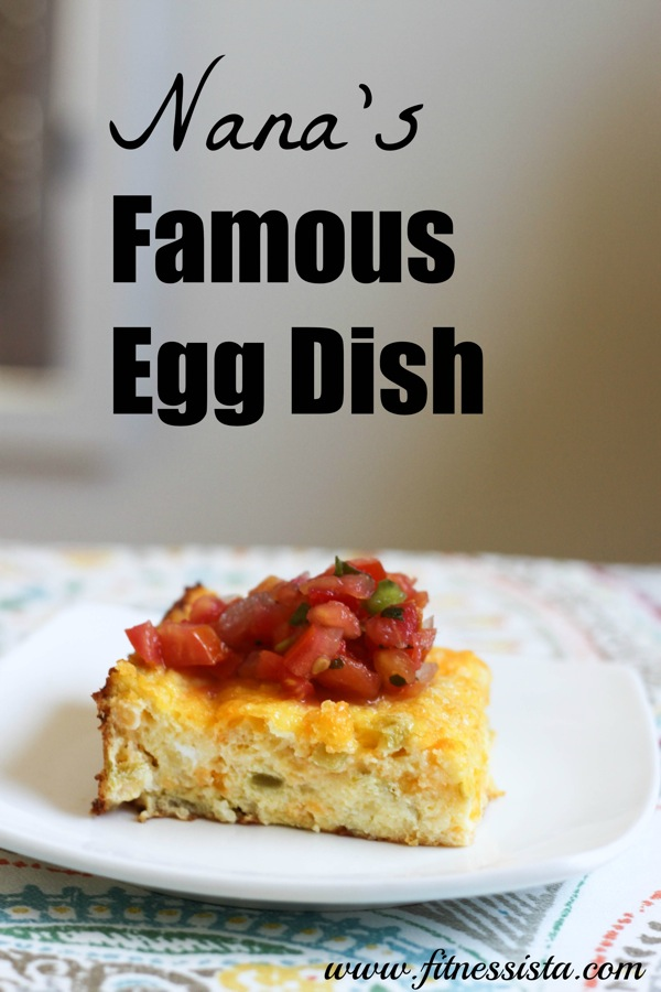 The BEST egg casserole for brunches. It has bold green chile flavor and is amazing with pico de gallo salsa. Save for any upcoming holidays or parties! fitnessista.com