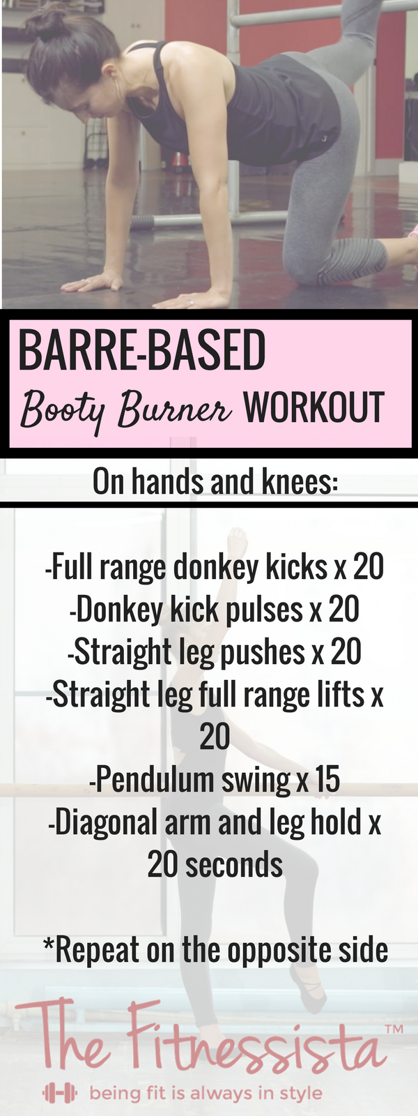 This is an awesome and QUICK lower body barre burner. Some of my favorite moves to tone and lift the glutes, in less than 5 minutes. fitnessista.com