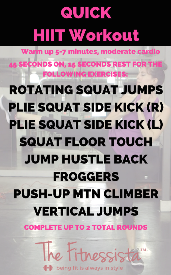 QUICK HIIT WORKOUT! A fast and intense workout you can do anywhere with zero equipment. check out the details + a video how-to at fitnessista.com