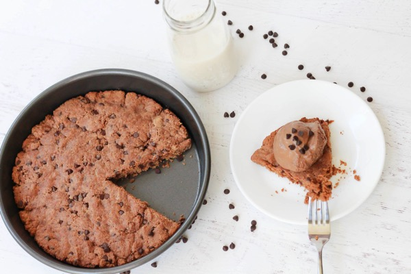 Gluten free protein cookie cake with ice cream