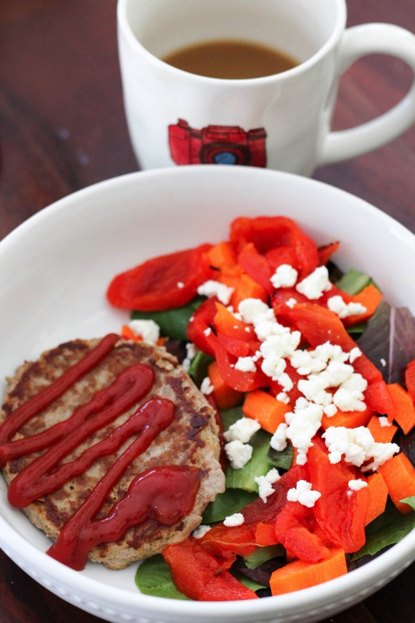 turkey burger and salad