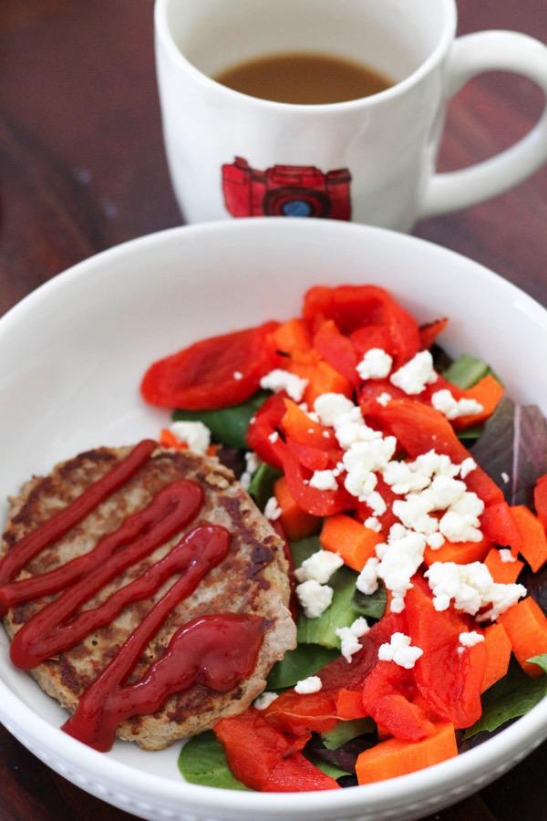 turkey burger and salad