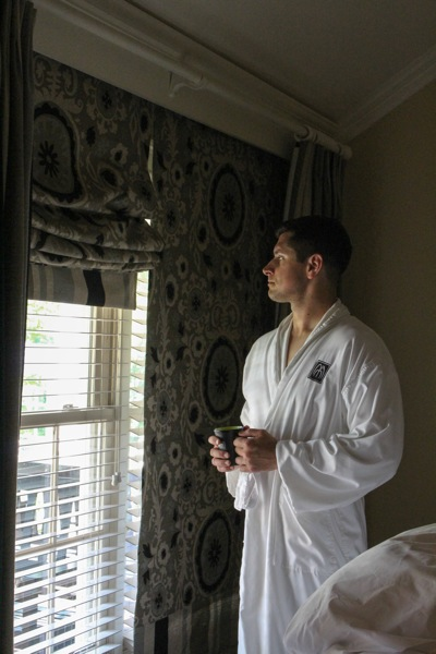 Tom in a bathrobe