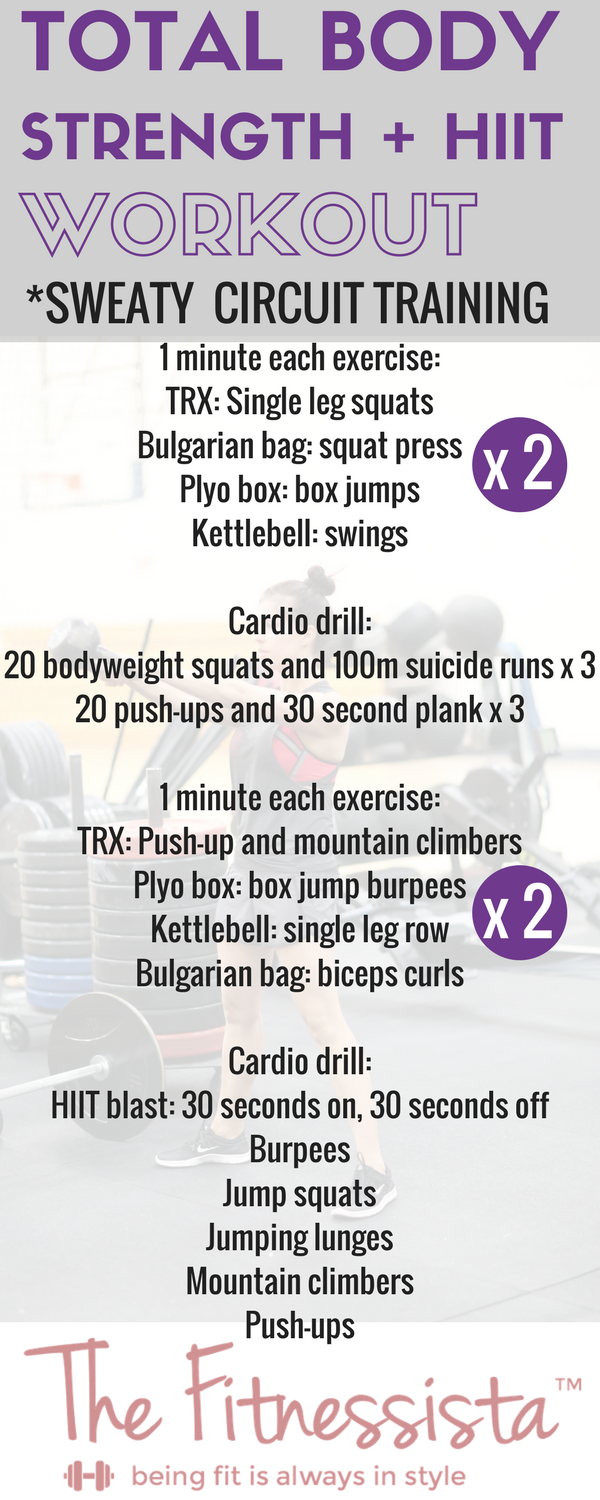This total body strength and HIIT workout is an awesome mix of endurance work and cardio drills. You can do it anywhere, and metabolism will be cranking all day! fitnessista.com #strengthandHIIT #totalbodyworkout #circuitworkout