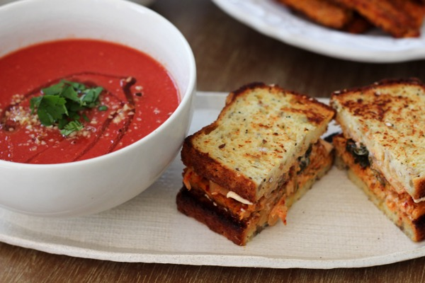 Blackened tempeh with vegan tomato soup