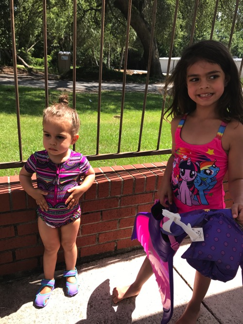 The girls ready for the pool