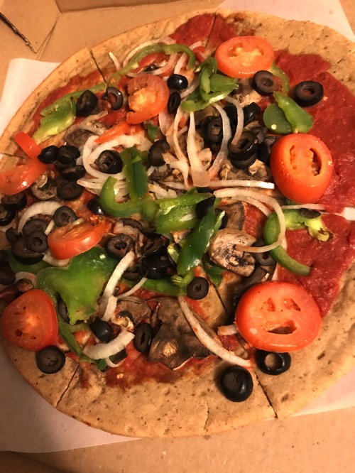 veggie loaded no cheese pizza