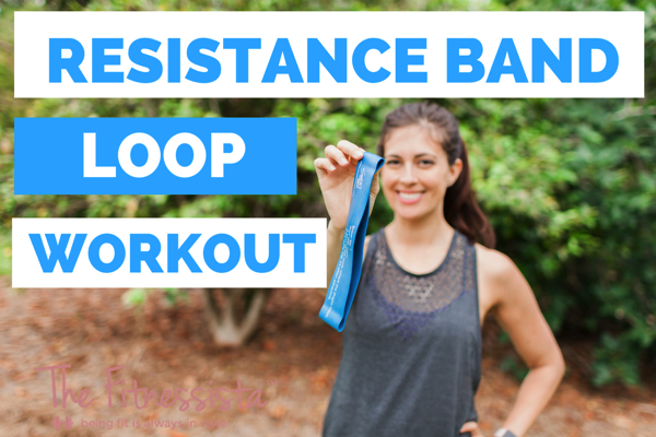 A total body workout using the resistance band loop! This resistance band loop workout is a great way to challenge your muscles in an entirely different way. Perfect for home workouts! fitnessista.com