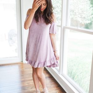 Cold shoulder blush dress. Perfect for summer or fall and super comfy.