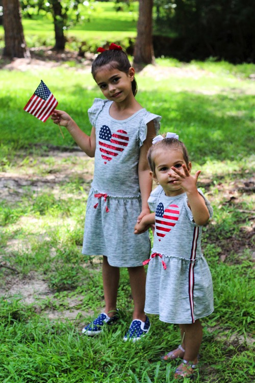 The girls dressed for the 4th of july