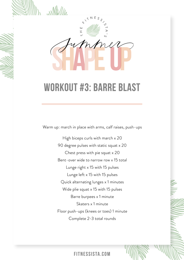 This total body barre workout will burn your entire body. It's a perfect travel workout; all you need is a pair of dumbbells. fitnessista.com