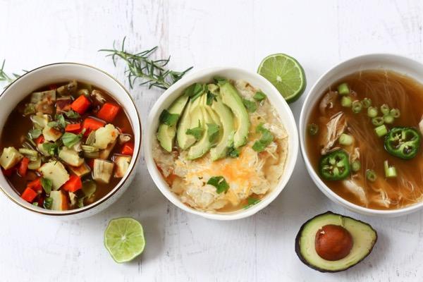 Healthy homemade single serving bone broth soups