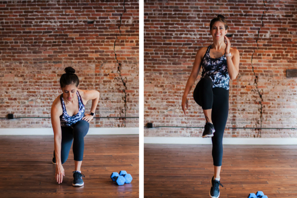 Reverse lunge with knee hop