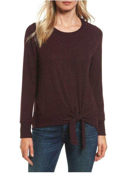 Tie front cozy fleece pullover