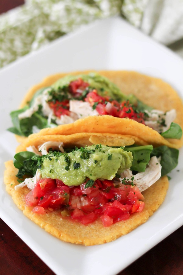 Chicken tacos on homemade tortillas. Quick and easy homemade tortilla recipe! fitnessista.com
