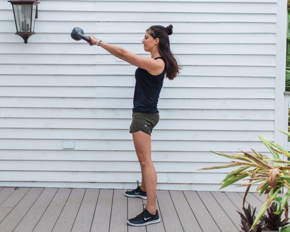 Total body kettlebell circuit workout! This workout will strengthen your entire body using a single kettlebell. fitnessista.com