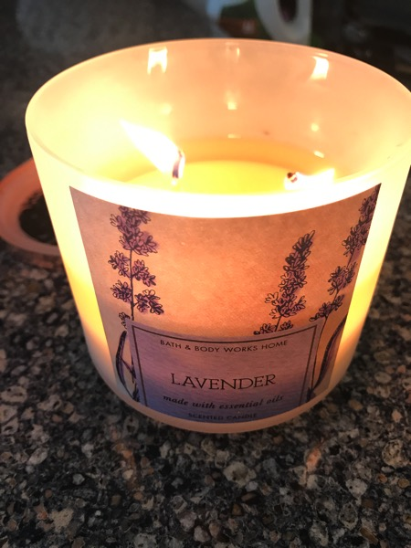 Lavender candle from Bath and Body Works