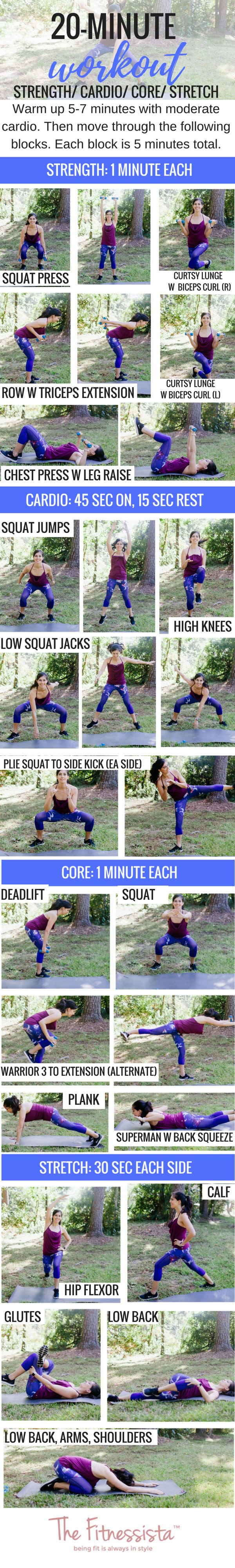 20 minute workout you can do anywhere! Get cardio, strength, core and stretching in 20 minutes with a pair of dumbbells. fitnessista.com #20minuteworkout #quickworkout