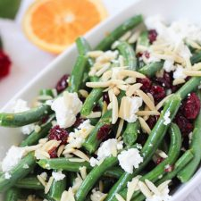 Green Beans With Goat Cheese Almonds And Cranberries The