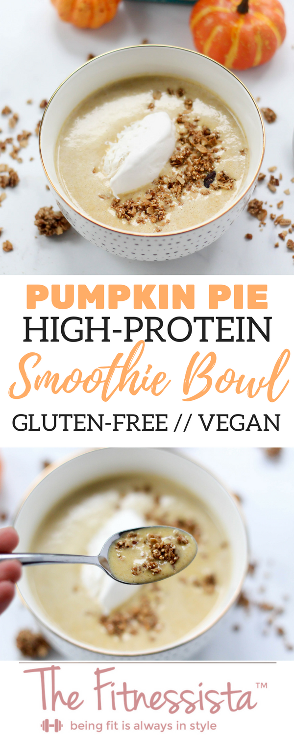 High-protein pumpkin pie smoothie bowl! This has hidden cauliflower in it -it sounds weird but I promise it's good- for bonus nutrients. It's super filling, tastes like pumpkin pie, and is an awesome breakfast option. fitnessista.com