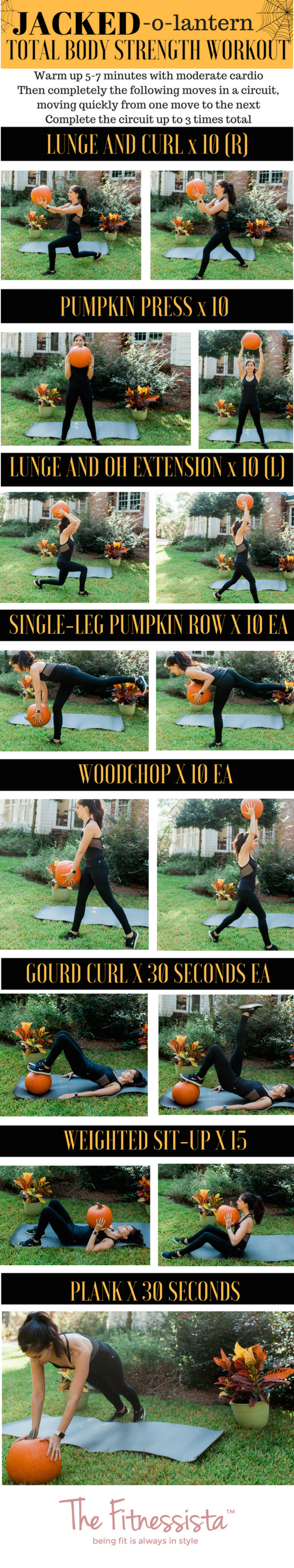 Jacked-o-Lantern total body strength workout using a pumpkin! fitnessista.com