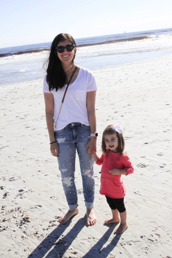 P and me on the beach