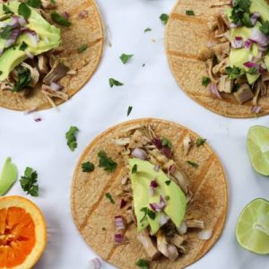 Shredded jackfruit carnitas tacos! These are an easy, healthy weeknight dinner recipe. fitnessista.com